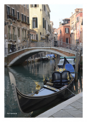 Side Canal with Bridge and Gondola, Venice, Italy
