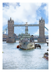 HMS Belfast & Tower Bridge from Thames