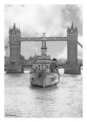 HMS Belfast & Tower Bridge from Thames